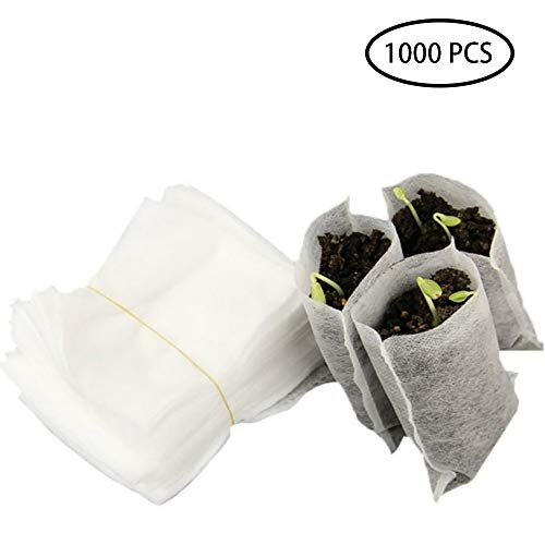 1000 stks niet-geweven verzorgingstassen, biologisch afbreekbare zaailing tassen plant groeien zakken zaailing verhogen zakken voor planten zakje huis tuin, 8 * 10 cm