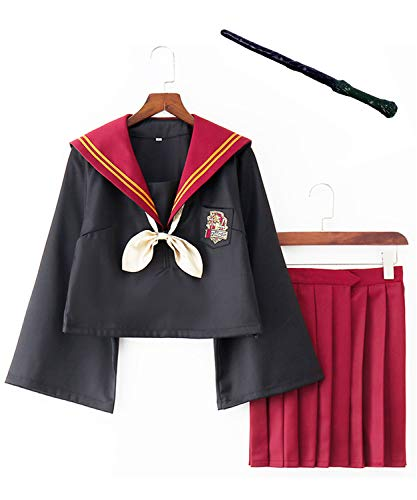 Monissy Zauberschülerin Schuluniform Hermine Granger Cosplay Kostüm Sexy Damen Kostüm Gryffindor Outfit Set mit Rock Krawatte Zauberstab Fasching Karneval Halloween S-2XL