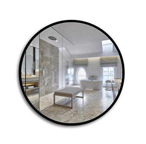 WECDS-E Espejo de baño Redondo Simple Europeo, Marco de Madera, Espejo de baño, Espejo de Pared/Color del Producto Blanco, Negro (Color: Blanco, Tamaño: 50 * 50 cm)