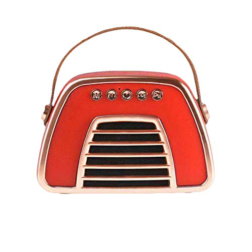 FafSgwq Tragbare Retro-Handtaschen-Art-Stereo-Baß-drahtloser Bluetooth-Lautsprecher-Resonanzkörper Super-tragbarer Bluetooth-Lautsprecher rot
