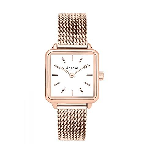 Reloj de Mujer Casual de Cuarzo, Correa de Malla de Diamantes, usando Movimiento japonés, Impermeable en la Vida Diaria, se Puede Dar a la Esposa, Amante, Novia (Color : Gold)