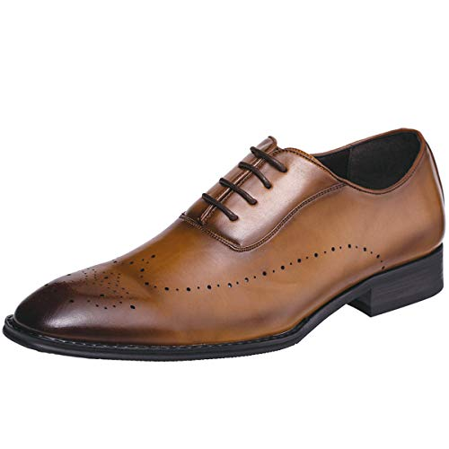 Jivana Oxford Busniess Dress Shoes for Men Father Lace-up (10, Brown-7)