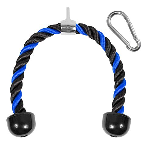 Yes4All Deluxe Tricep Rope Pull Down - 27 and 36-inch Rope Length, Easy to Grip & Non Slip Cable Attachment (Blue/Black - 27inch)