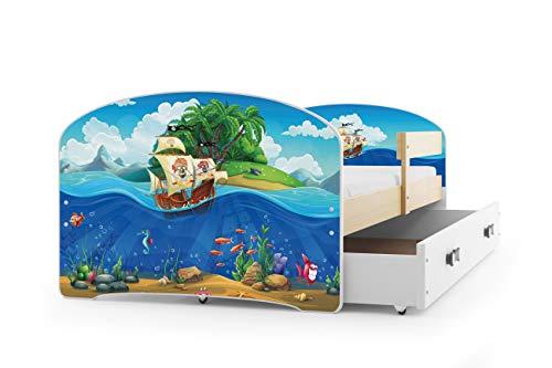 Interbeds Lit Enfant LUKI 160x80 avec sommier, Matelas et tiroir-Coffre en PIN Naturel + Le Sticker Choisi (pin+Pirates)