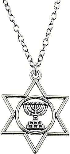 Yiffshunl Collar Collar de Moda para Mujer Collar de judaísmo Menorah David Star Collar con Colgante 39x32mm joyería de Color Plateado para Mujeres Hombres Regalos