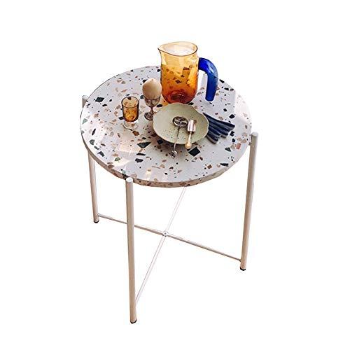 JUAN-Lapdesks Terrazzo Beistelltisch Wohnzimmer Runder Couchtisch Eisen-Kunst-Corner Tisch Schlafzimmer Nachttisch, 42 × 52cm