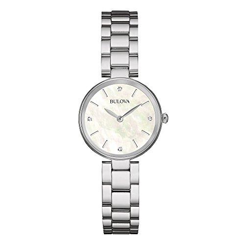 Bulova Reloj de Mujer de Acero Inoxidable de la Madre-de-Perla-Blanco con 4 Diamantes 96S159