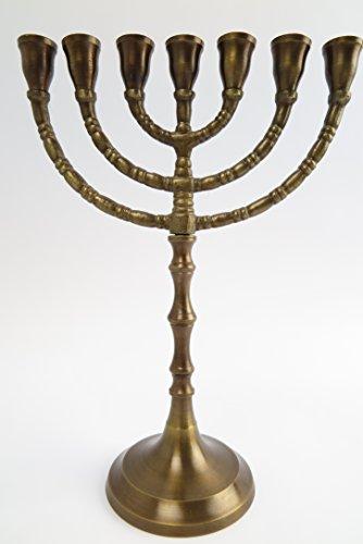 Clever-Deko 7-armig Menorah Davidleuchter Kerzenleuchter Kerzenständer Messing BRÜNIERT Antik Menora