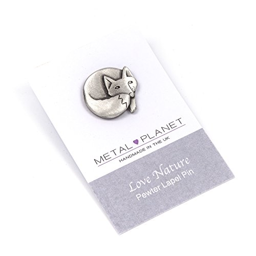 Metal Planet Ltd Fox pewter pin badge by Luna London, UK. Gift