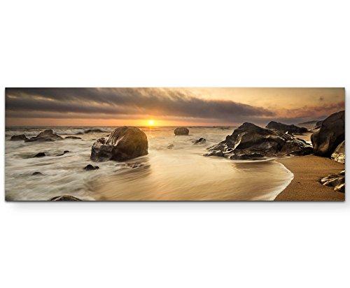 Paul Sinus Art Leinwandbilder   Bilder Leinwand 150x50cm ruhiges Meer am Abend, beim Sonnenuntergang