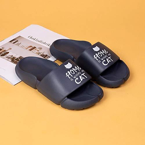 XZDNYDHGX Sandalias De Ducha De Secado RáPido para Mujeres Y Hombres,Zapatillas de casa de Verano para Hombre, Zapatos Sencillos para Gatos, toboganes de baño Antideslizantes Gris Oscuro, EU 43-44
