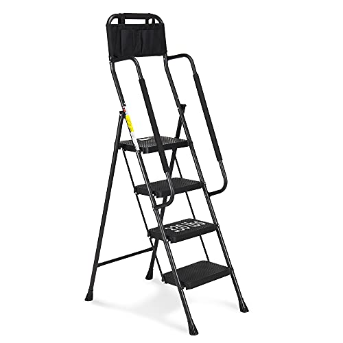 HBTower 4 Step Ladder with Handrails, 330 lbs Folding Step Stool with Attachable Tool Bag & Anti-Slip Wide Pedal for Home Kitchen Pantry Office