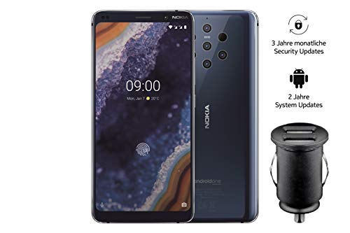 Nokia 9 PureView Dual SIM Smartphone – deutsche Ware (15,21 cm (5,99 Zoll) QHD + pOLED Display, 128 GB ROM, 6 GB RAM, Android 9 Pie) blau, Exklusive Amazon Edition inkl. 12 V KFZ Adapter