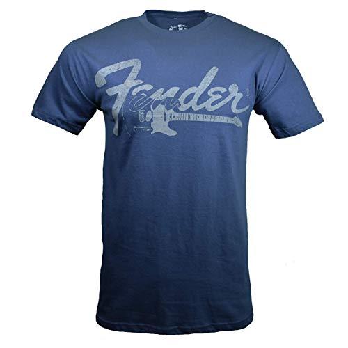 Fender Men's T-Shirt, Guitar Logo, Blue (Large)
