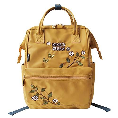 Flower Princessリュック レディース ディバック リュックサック イエロー バックパック マザーズバッグ おしゃれ ナイロン 大容量 撥水加工 人気 通勤 通学 旅行 刺繍 アウトドア