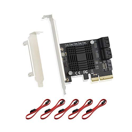 ADWITS PCIe 3.0 4 bis 5-Port SATA III 6 Gpbs PCI Express-Speichererweiterungskarte mit Jmicro JMB585-Controller, Support-Software RAID AHCI für Desktop-PC-Server NAS DVR -Schwarz