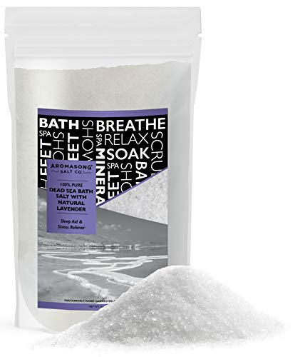 Pure Dead Sea Salt With 100% NATURAL LAVENDER, Spa Bath Salts, 5 Lbs, Fine Grain Large Bulk Resealable Pack, Used for Body Wash Scrub, Soak for Women & Men for Tired Muscles & Skin Issues.