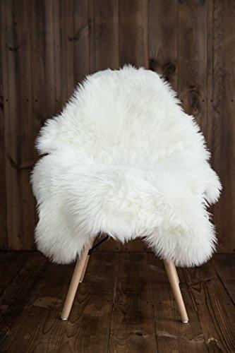 Mi Comfy zona de piel de imitación para silla/asiento alfombra/Pad/zona alfombra para dormitorio sofá suelo marfil y blanco 2m x 3m