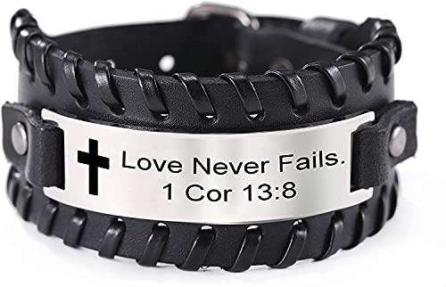 AMOZ Inspiración de Acero Inoxidable Pulsera de Cuero Cristiano Cruz Versículo de la Biblia el Amor Nunca Falla 1 Cor 13: 8 Regalo de Estímulo de la Fe de Las Escrituras para Hombres Y Mujeres,Negro