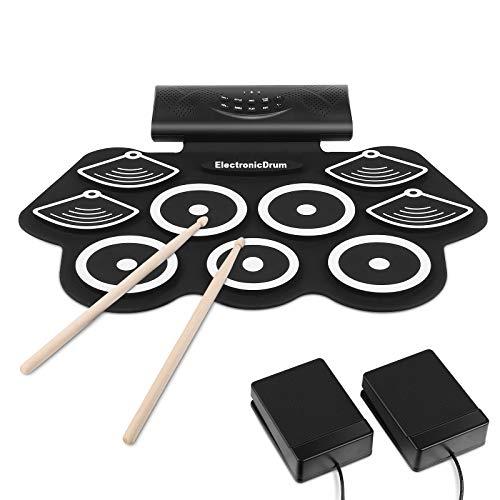 MVPower Elektronisches Schlagzeug Drum Set, Tragbares Roll-Up-Schlagzeug, mit Stereo-lautsprecher Bluetooth, MIDI, für Anfänger,für Kinder Weihnachtsgeschenk (9 Pads)