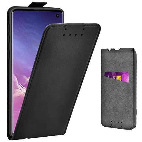Adicase Galaxy S10 Hülle Leder Tasche für Samsung Galaxy S10 Handyhülle Flip Case Schutzhülle (Schwarz)