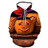 Ginli Felpa con Cappuccio 3D Stampa Pullover Hoodie con Tasche Giacca Uomo Felpa Uomo Nera con Cappuccio Luce di Zucca di Halloween