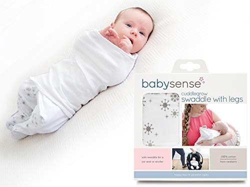 Cuddlegrow Swaddle Blanket/AwardWinning Baby Wrap with Legs | Home Car Travel Stroller | Stretchy amp Safe Breathable Cotton for SleepTemperature Feeding Calming Stone
