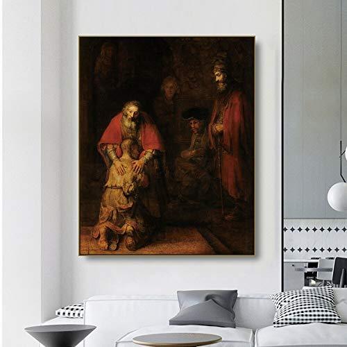 Oszagh Druck auf Leinwand Leinwandmalerei Wandkunst -Die Rückkehr des verlorenen Sohnes -Rembrandt 64X80Cm No Framed, Replica Dekoposter, Geschenk, Kunstdruck
