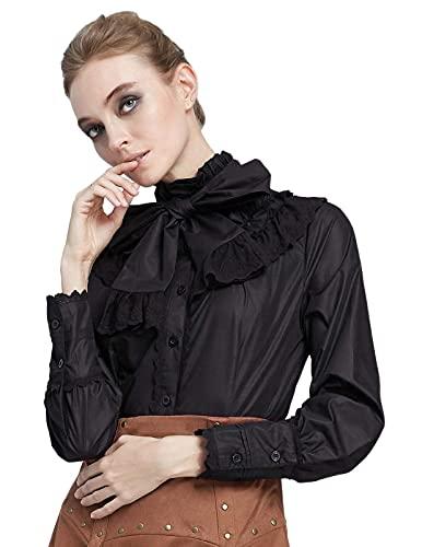 Belle Poque Mujer Camisa Vintage de Cóctel con Cuello Subido con Lazo para Fiesta Top Victoriana de Encaje L...