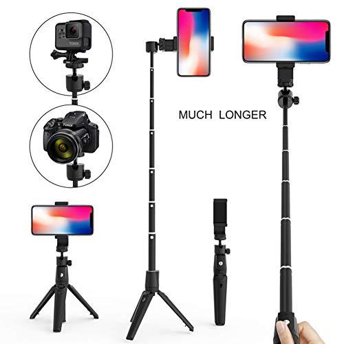 YUSH Selfie-Stick Stativ mit Tragbarer Bluetooth-Fernbedienung und 360° Rotation, Verstellbare Verlängerung für GoPro iPhone XS X 6 7 8 Android (Schwarz)