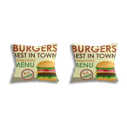 Throw Pillow Covers decoración de la habitación (Juego de 2 Piezas), Fast Food Menu Design with Hamburger in Cartoon Style,Juego de Funda de cojín para Fundas de Almohada de Dormitorio de