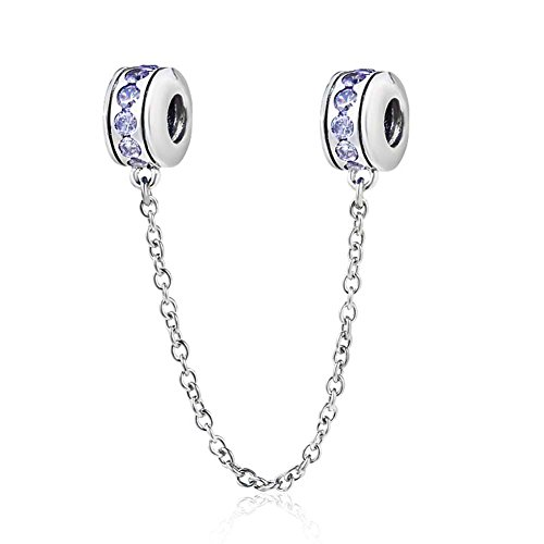 Abalorio de cadena de seguridad de plata de ley 925 con cierre de clip para pulsera Pandora azul claro