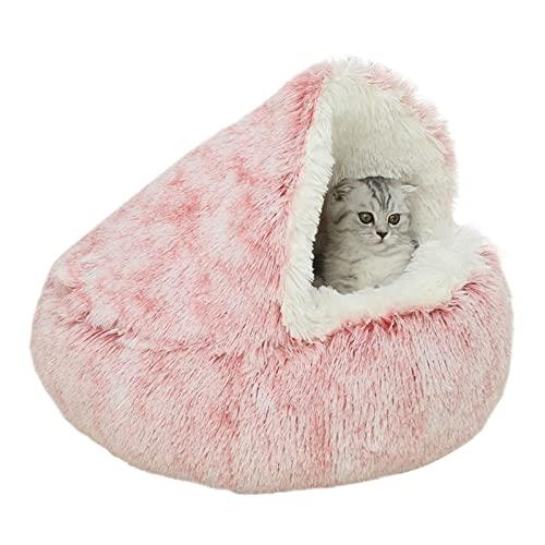 Tienda de gato Cama cueva para perros pequeños cachorros, tienda de gato de felpa ultra suave casa de cabaña para gatos, cómoda y antideslizante con calentamiento automático