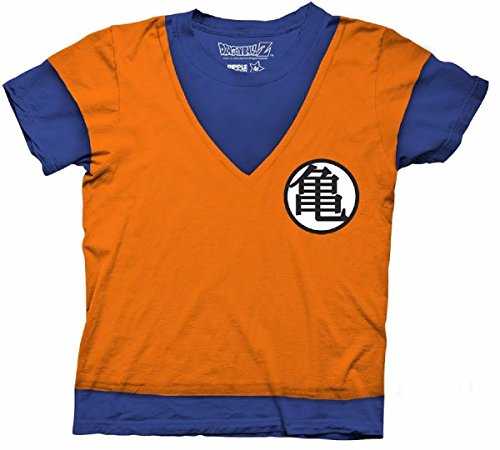 Dragon Ball Z Goku Fighting Uniform Costume Cosplay Licensed Adult Shirt (XXX-Large) Orange