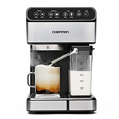 Chefman 6-in-1 Espresso Maker, Powerful 15-Bar Pump, Brew Single or Double Shot, Built-In Milk Froth for Cappuccino & Latte Coffee, XL 1.8 Liter Water Reservoir, Dishwasher-Safe Parts, Stainless Steel