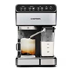 Chefman 6-in-1 espresso maker, powerful 15-bar pump, brew single or double shot, built-in milk froth for cappuccino… 1 make your kitchen a cafe: bring the energizing taste of coffeehouse brews into your home with the gourmet chefman espresso maker! With a powerful 15-bar pump and a built-in milk frothing mechanism, you'll be able to brew like a barista every morning. Upgrade your coffee: this 6-in-1 coffee machine creates all of your favorite high-quality coffee beverages right in your kitchen. Enjoy single or double shots of espresso, cappuccinos, lattes, and more with the integrated frothing system. Ditch your old coffee pot, get the upgrade you've been craving. Brew with ease: while your morning cup of joe might be more complex with the espresso machine, your brewing process will be easier than ever. With simple one-touch operation, you can brew and froth your perfect cup. Plus, with the xl 1. 8 liter water container, you can forget about daily refills.