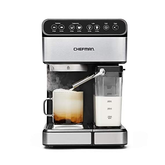 Chefman 6-in-1 Espresso Maker, Powerful 15-Bar Pump, Brew Single or Double Shot, Built-In Milk Froth for Cappuccino… 1 MAKE YOUR KITCHEN A CAFE: Bring the energizing taste of coffeehouse brews into your home with the gourmet Chefman Espresso Maker! With a powerful 15-bar pump and a built-in milk frothing mechanism, you'll be able to brew like a barista every morning. UPGRADE YOUR COFFEE: This 6-in-1 coffee machine creates all of your favorite high-quality coffee beverages right in your kitchen. Enjoy single or double shots of espresso, cappuccinos, lattes, and more with the integrated frothing system. Ditch your old coffee pot, get the upgrade you've been craving. BREW WITH EASE: While your morning cup of joe might be more complex with the Espresso Machine, your brewing process will be easier than ever. With simple one-touch operation, you can brew and froth your perfect cup. Plus, with the XL 1.8 Liter water container, you can forget about daily refills.