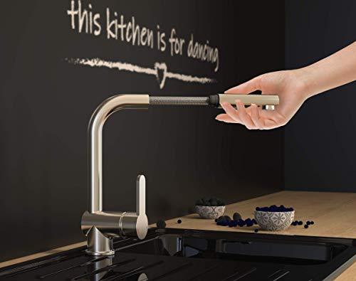SCHÜTTE London Küchenarmatur mit ausziehbarer Geschirrbrause, 360 Grad schwenkbarer Wasserhahn für die Küche, Mischbatterie mit Einhebelmischer, Spültischarmatur Edelstahloptik, Edelstahl, 29,8 cm