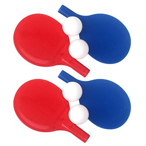 CLISPEED 2 Juegos de Raquetas de Tenis de Mesa con Pelotas de Ping Pong para Niños Que Juegan Pantalones de Entrenamiento de Práctica de Plástico para Principiantes Juegos Azul