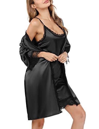 Sykooria Camisón de satén de Seda de Encaje de 2 Piezas para Mujer, Bata de Kimono, Vestido de Dama de Honor, Conjunto de Pijama de negligé Suave, camisón