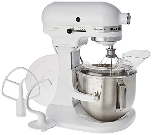 KitchenAid 5KPM5EWH Robot da Cucina Heavy Duty da 4,8 L 5KPM5, 350 W, 4.3 Litri, 18/8 Stainless Steel, Bianco