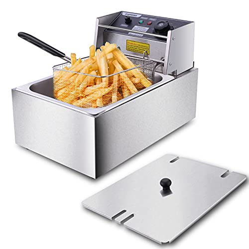 casulo Deep Fryer with Basket 1700W 10.57QT Commercial Deep Fryer Easy to Clean Stainless Steel Electric Deep Fryer with Temperature Limiter for Commercial and Home Use