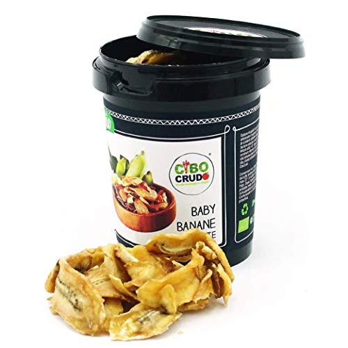 CiboCrudo Baby Banane a Fette Essiccate Biologiche Crude, Raw Organic – 200gr – Chips di Banane Bio, Ricche di Potassio, Provenienza Tanzania, Etichette in Italiano
