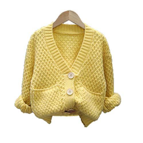 Las niñas que hacen punto Cardigan suéteres coreano solo pecho sólido ropa de los niños primavera otoño niños ropa
