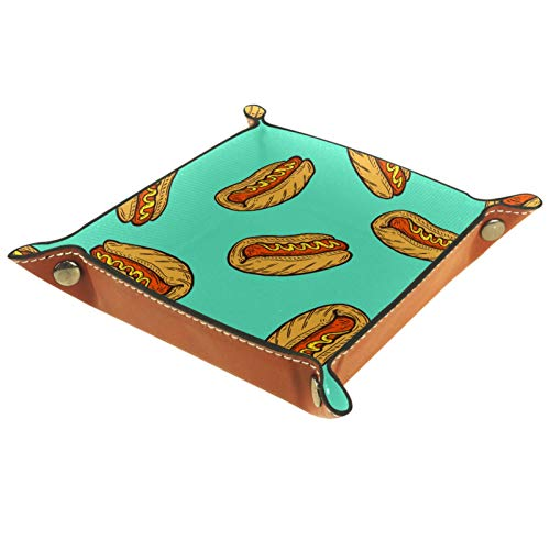 AITAI Bandeja de valet de cuero vegano organizador de mesita de noche para escritorio, plato de almacenamiento de salchicha de perro caliente