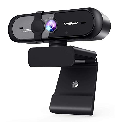 Campark Webcam 1080P, Cámara Web con Micrófono Enfoque Automático USB Webcam con Flexible Giratorio Clip, Plug and Play...