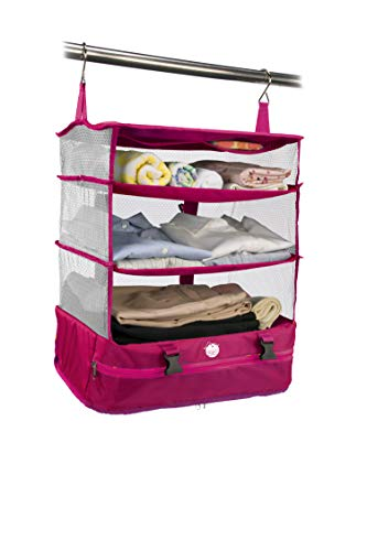 持ち運べるクローゼット ワイド ピンク Fu-90080 <スーツケース 収納バッグ トラベルバッグ 旅行 ガーメントバッグ キャリーケース>