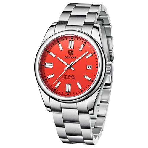 BENYAR Casual Minimalista Hombres Relojes Automáticos Stianless Acero Impermeable Luminoso Moda Vestido Mecánico Reloj, rojo,