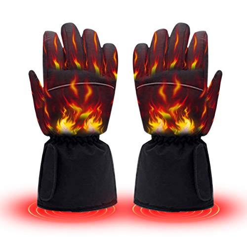 KEMOO Beheizte Handschuhe, wasserdichte Thermo-Heizhandschuhe für Herren/Damen, Touchscreen-warme Handschuhe für Outdoor-Sport, Radfahren, Motorrad