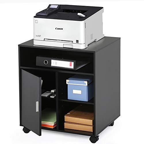 FITUEYES Druckerständer Druckerhalter mit Rädern Holz Schwarz 5 Fächern 1 Tür Wagen Organizer für Büro Zuhause 60x50x66.4cm PS406001WB